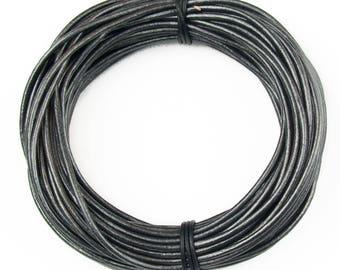 Gunmetal Metallic Gray Round Leather Cord 1.5mm 10 meters