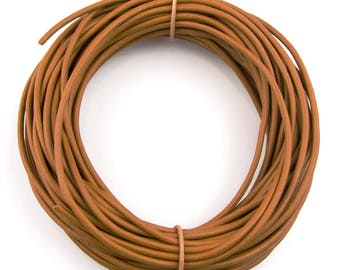 Mustard Natural Dye Round Leather Cord 1.5mm 100 meters (109 yards)