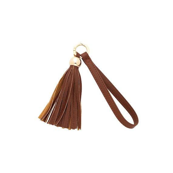 camel tassel keychain vegan leather keychain accessory boho keychain