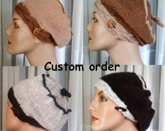 All natural hand-knit alpaca tam/hat/beret with button band and tassel custom made-to-order   undyed alpaca tam   lightweight knit beret