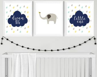 Dream Big Little One Boys Elephant Wall Art Elephant Baby Shower Elephant Decor Elephant Nursery Decor Nursery Wall Art Elephant Nursery