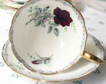 Royal Stafford Roses to Remember Deep Red Rose Teacup and Saucer