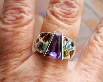 LAYAWAY BALANCE for joyce only 3/30 healing chakra ring size 8 3/4 1970's 7ct BEZEL set genuine natural multi gem designer sterling ring