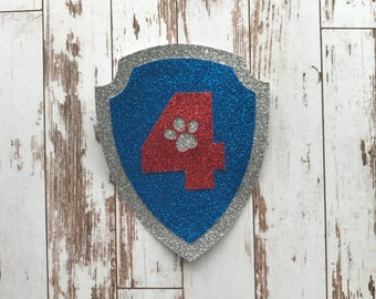 Paw Patrol Badge Glitter Die Cut/Birthday Party Decoration/Embellishment/Cake Topper - 4 Years old