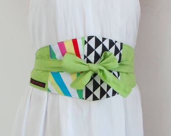 Green Apple and black triangle, creating unique and recycled cotton belt Obi graphic