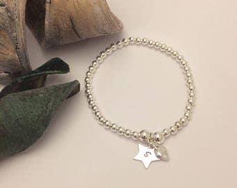 Sterling Silver  Heart & Star Charm Stretch Bead Bracelet