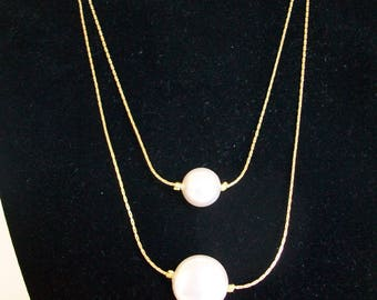 White Pearl Two Strand Necklace