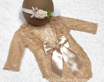 Newborn girl photo outfit lace romper set, newborn nude photo props baby girl open back long sleeve  romper props newborn photography