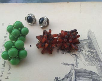 lot 3 pairs vintage Clips earring beads work Earrings post solid bronze based green red crystal earring