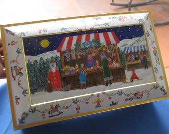 Vintage Lebkuchen Schmidt Christmas Scene Large Tin Made In Germany