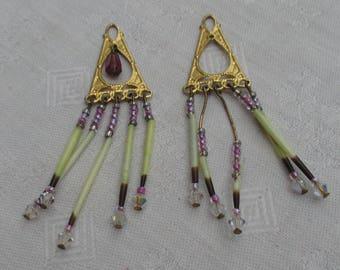 Vintage Boho Dangling Beaded Earrings Missing Ear Wires TLC