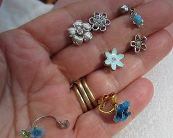 Lot Of Retro Single Odd Flower Earrings