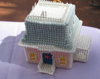 Retro Hand Crafted  Plastic Canvas Miniature House