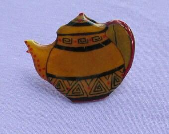 Retro Teapot Shaped Lapel Pin