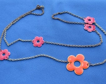 Retro Colorful Enameled Flower Chain Necklace TLC