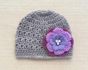 Baby girl hat with flower Baby hat Newborn girl hat Crochet newborn hat Girl newborn photo prop Newborn Baby girl beanie hats for babies