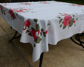 "California  Hand Prints 60"" x 52""  Pink Hibiscus Tablecloth"