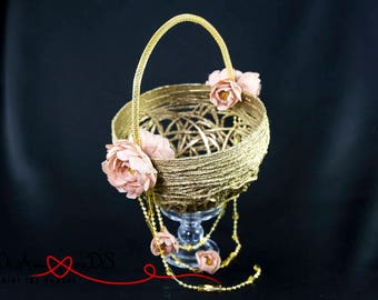 Girl Basket, Here Comes The Bride, Flower Girl Basket, Pink Flower Wedding Basket, Lace Wedding Basket, Unique Flower Girl, Flower Wedding
