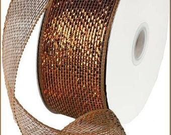 "Deco Mesh, Mesh Ribbon, 2.5"" X 25yd, Two Tone Mesh, Copper Brown, Deco Mesh Roll, Mesh Garland, Craft Supply, Wreath Supply, 04CK, J2"