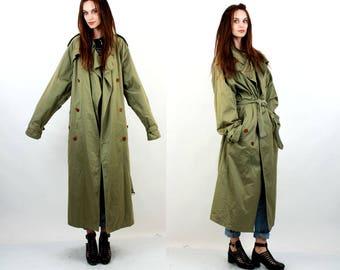 HUGO BOSS Coat / Vintage Trench Coat Men / Military Coat Men / Maxi Coat Men / Khaki Coat / Belted Coat / Large / XL