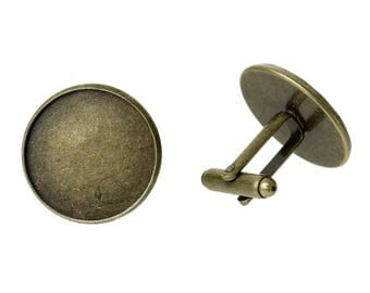 "3 Pair CUFF LINKS Antique Bronze Tone  - Large Cuff Link Blanks For Resin or Cabochon -  Fits 21 mm  - 26 X 23 mm 1""x 7/8"""