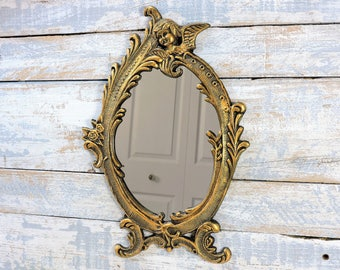 angel wall mirror gold gilt painted baroque style gold oval wall mirror hollywood regency french country
