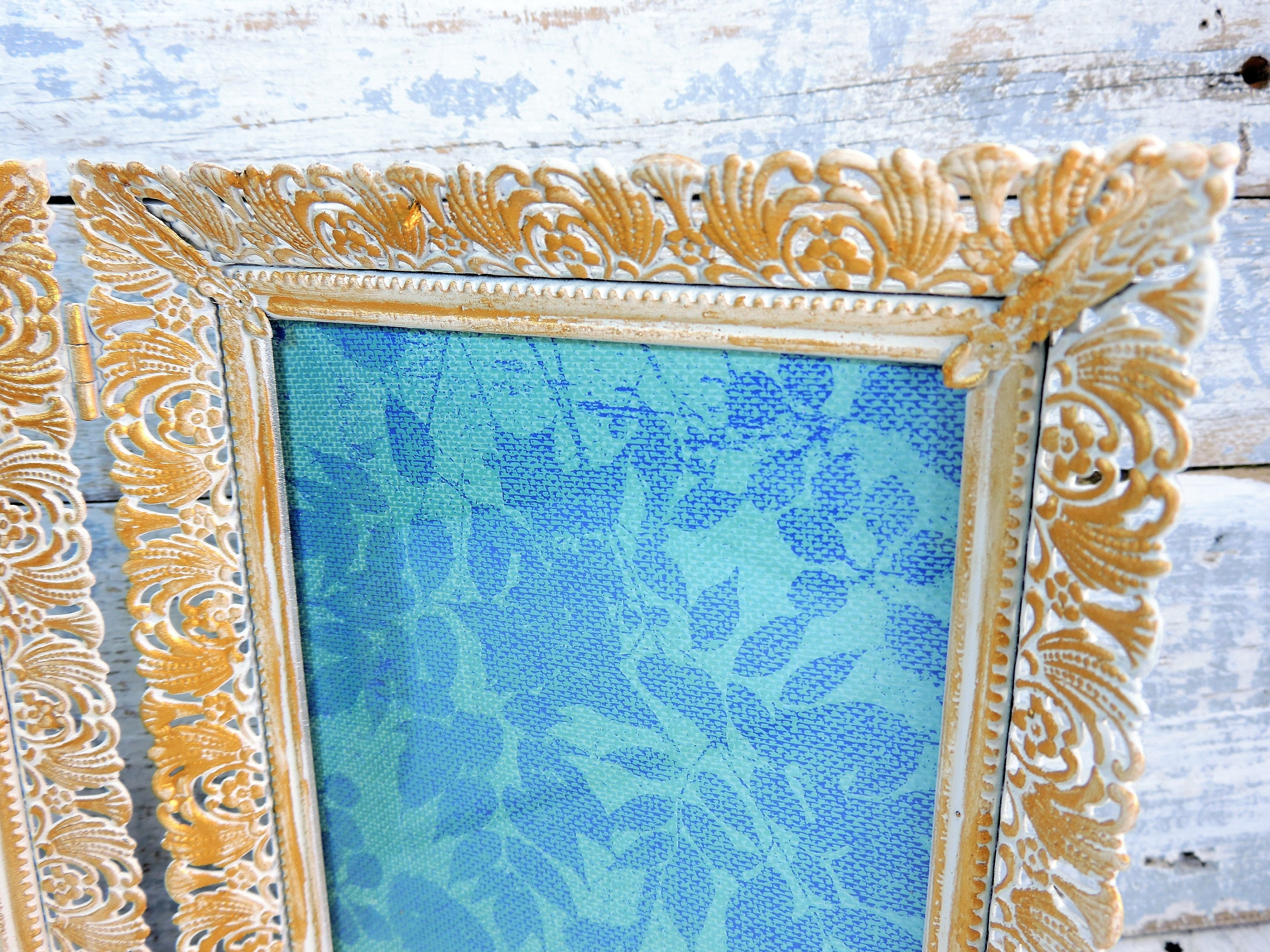 Old Picture Frames Folding Double 5X7 Ornate Flower Scroll Cut Out ...