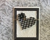 Greeting card handmade; OOAK, Quilted Note Card, Americana, blue& gray, Vintage quilt scrap, embossed hearts, buttons