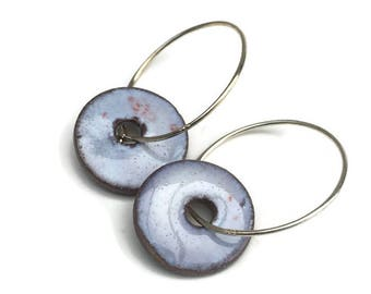 Blue earrings. Ceramic hoop earring with a retro rustic light blue glaze with tiny red dots. TheClayPlay ceramic jewelry with 925s hoops.