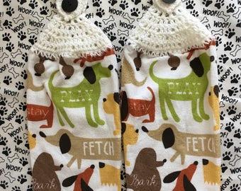 Dog Towels, Crochet Top Dog Towels, Kitchen Towel Set, Hanging Towels, Dog Decor, Diva Dog, Crochet-top Towels