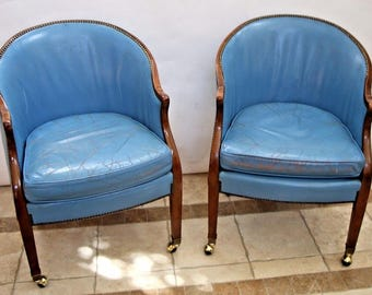 Vintage pair BAKER Rolling Brass Tack Blue Leather Desk Chair wood Trim Safe Nationwide shipping available please call for quotes