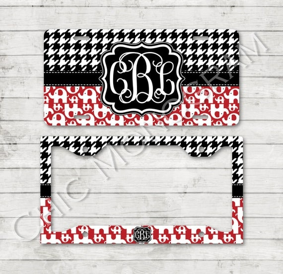 Alabama License Plate Car Tag Elephant Houndstooth Monogram Plate Frame Cover Holder Custom Monogrammed Personalized Christmas Gifts for Her
