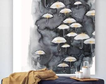 White Umbrellas - print from original watercolor illustration by Kristen Baker