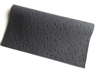 Porte chéquier femme simili cuir noir