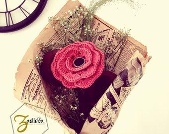 """Cadeau Romantique Saint Valentin Bouquet de Fleur Crochet / Cuir Dentelle Journal Papier / Pièce Unique ref01 - Coll.""""Mon Coeur Mon Amour"""""""