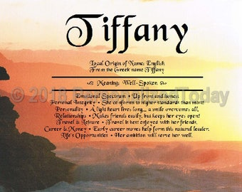 Sunset Name Meaning Origin Print Name Personalized Certificate 8.5 x 11 Inches Customized With Any Name