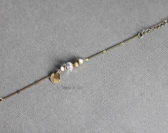 """Elegant"" bracelet, faceted glass beads, sequin, charm, chain metal bronze"