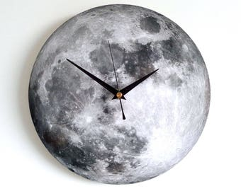 Moon Wall Clock - Decoupage Photo Clock - Space Clock - Black and White Clock - Astronomy Clock - Luna Clock