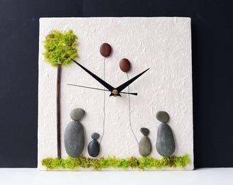 Pebble Wall Clock - Beach Nautical Clock - Natural Stone Clock - Pebble Art Family - 3D Mosaic Clock - Pebble People - Stone People