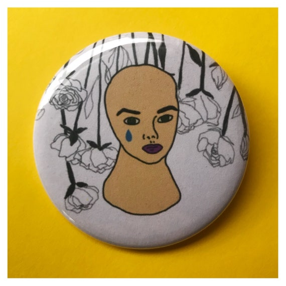 "2.25"" Pinback Button - Mannequin Head Face Eyes Woman Beauty Large Pinback Button - Handmade Weird Round Pin - Tumblr Trendy Sad Girl"