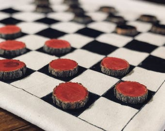 Sassafras Checkers Travel and Camping Game, Board Game, Checkerboard, Rustic, Portable, Childrens, Boys, Girls, Valentine's Gift
