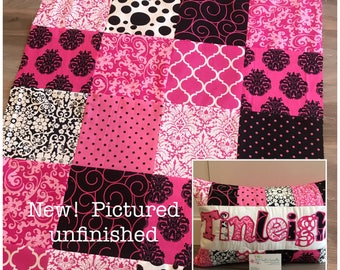 New! Pink and black baby quilt and pillow set