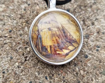 Silver Explorer Ship Pendant Necklace