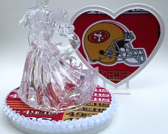 Wedding Cake Topper San Francisco 49ers SF Football Themed Clear Couple Dancing First Dance w/ Garter Bride Groom's Top Sports Fans Turf Fun