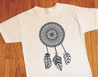Girl's Dream Catcher T-shirt, Children's Tribal Shirt, Native American Clothing, Dreamcatcher Toddler Top, Tribal Birthday Outfit