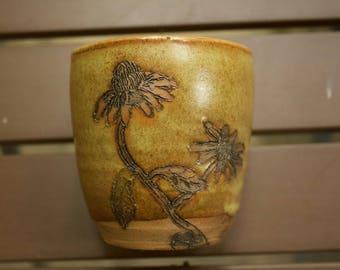 Homemade Ceramic Echinacea Cup