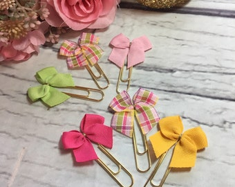 Spring Plaids & Solids - Set of 3 Planner Bow Clips