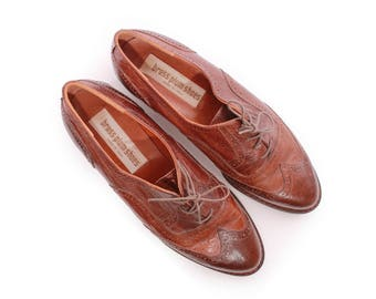 Leather Flats Wing Tip Oxfords Wing Top Flats 90s Vintage Shoes Minimalist Made in Italy Women's Size US 8 / UK 6 / EUR 38 - 39