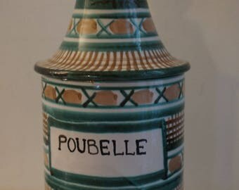Large pot with lid apothecary Robert Picault Vallauris french Design