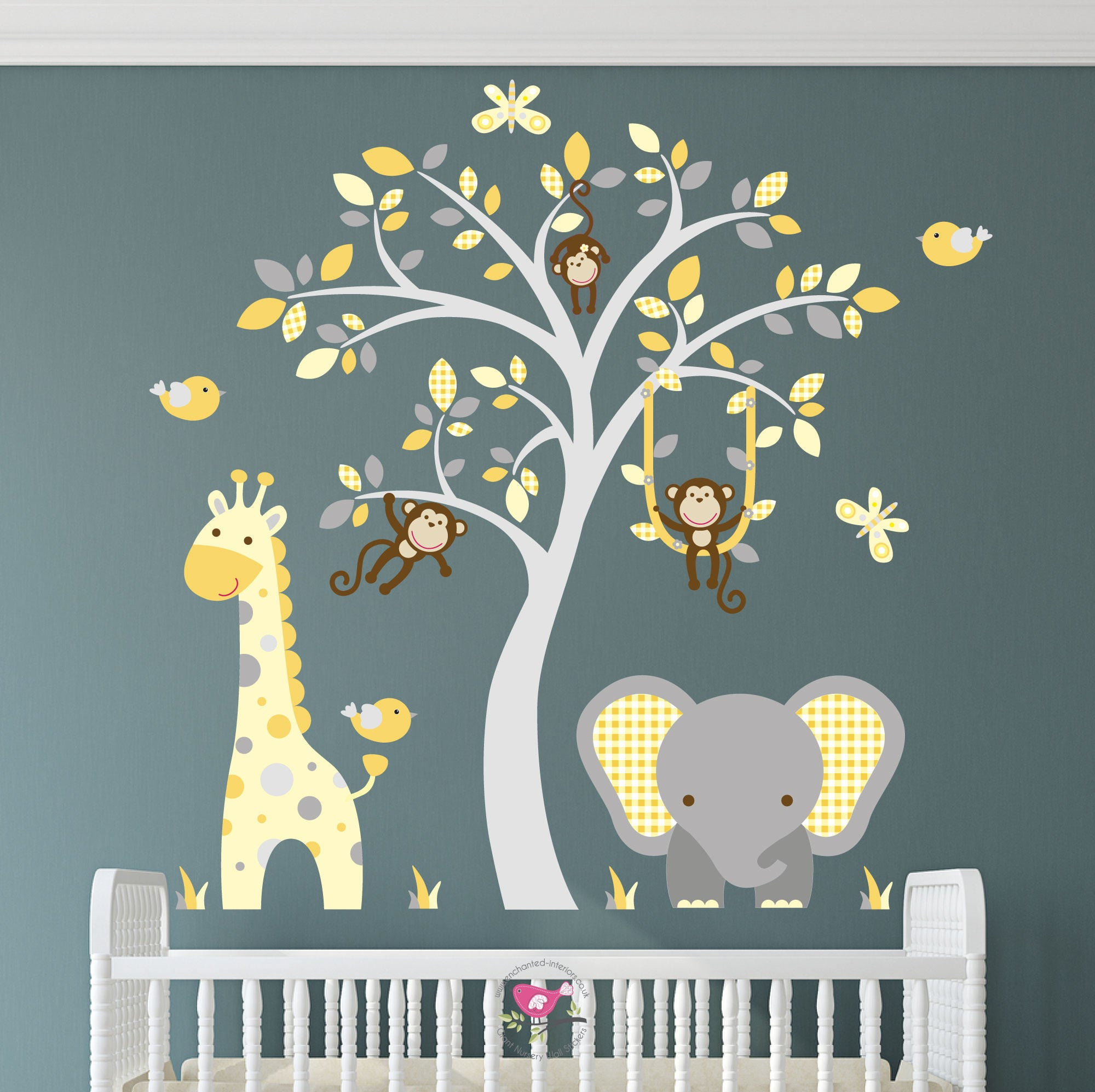 Jungle Decal Elephant Nursery Wall Stickers Mustard And Grey Decor